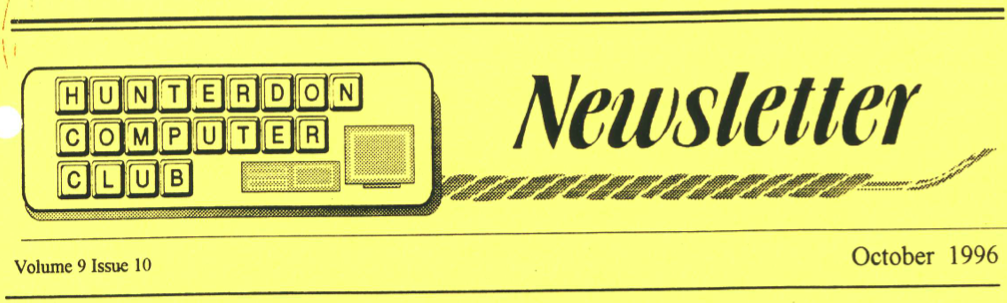 Hunterdon Computer Club October 1996 Newsletter Banner By Joe Burger