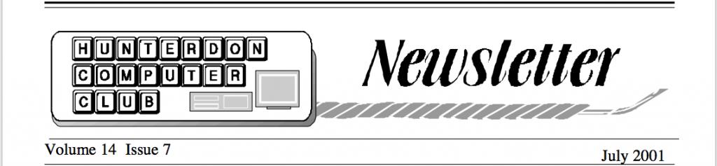Hunterdon Computer Club July 2001 Newsletter