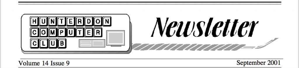 Hunterdon Computer Club September 2001 Newsletter