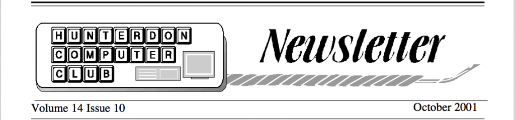 Hunterdon Computer Club October 2001 Newsletter