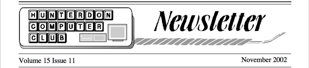 Hunterdon Computer Club November 2002 Newsletter Banner by Joe Burger