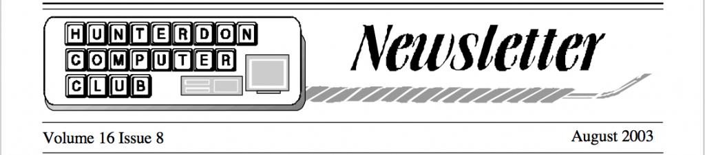 Hunterdon Computer Club August 2003 Newsletter Banner by Joe Burger