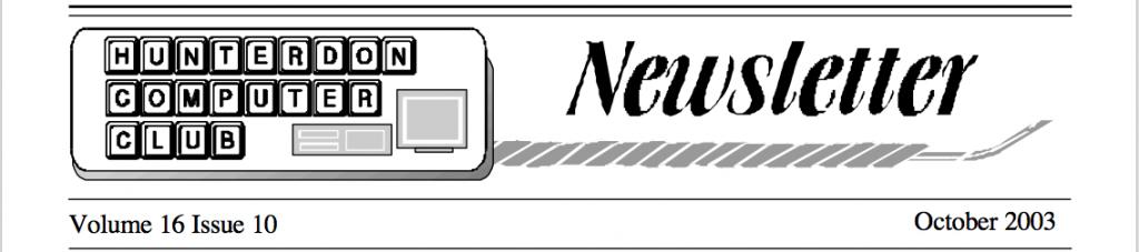 Hunterdon Computer Club September 2003 Newsletter Banner by Joe Burger
