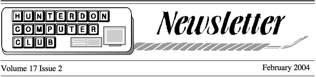 Hunterdon Computer Club February 2004 Newsletter Banner by Joe Burger