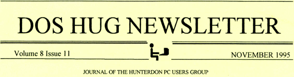 Hunterdon Computer Club November 1995 Newsletter Banner