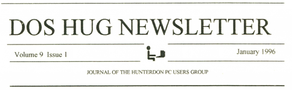 Hunterdon Computer Club January 1996 Newsletter Banner