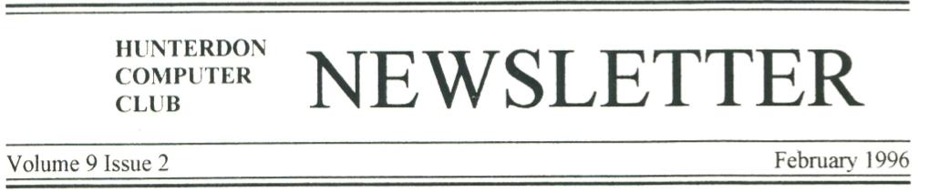 Hunterdon Computer Club February 1996 Newsletter Banner