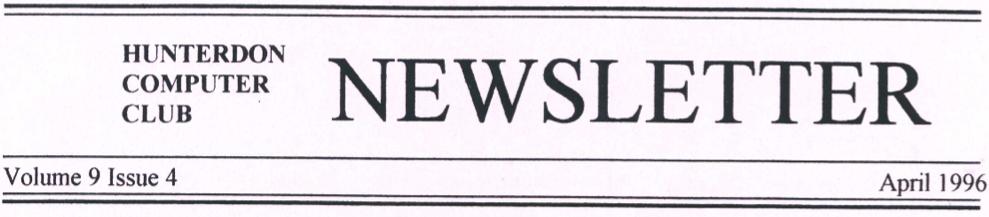 Hunterdon Computer Club April 1996 Newsletter Banner