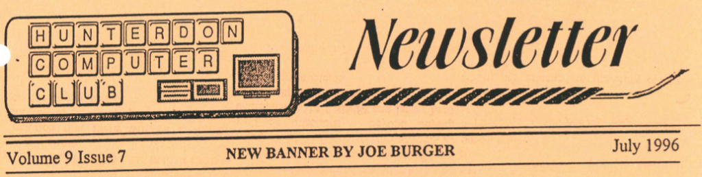 Hunterdon Computer Club July 1996 Newsletter Banner By Joe Burger