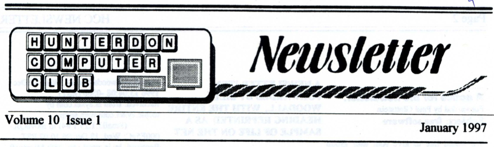 Hunterdon Computer Club January 1997 Newsletter Banner By Joe Burger