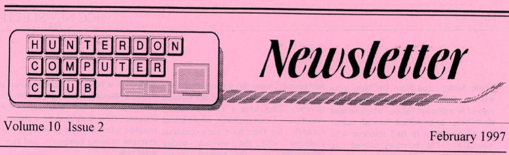 Hunterdon Computer Club February 1997 Newsletter Banner By Joe Burger