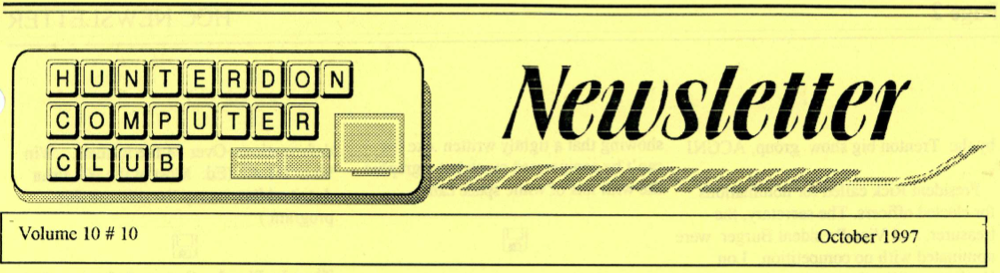 Hunterdon Computer Club October 1997 Newsletter Banner By Joe Burger